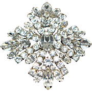 Vintage Signed Sherman Rhodium Plated Brooch/Pin 1950-s