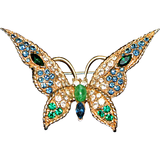 Vintage Butterfly Brooch/Pin Signed LeC with Inventory Number 9958 1960-s