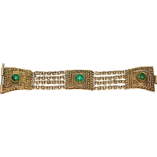 Vintage Bracelet with Real Malachite Stones End of 1940-s