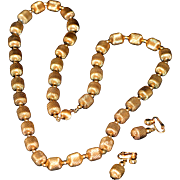 Vintage Unsigned Gold-Tone Necklace and Clips 1970-s