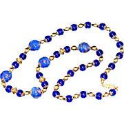 Vintage Authentic Murano Glass Cobalt Blue Necklace 1970-s