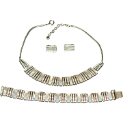 Vintage Art Deco Mother of Pearl DoSo Jewellery Set (Necklace, Clips & Bracelet) 1940-s