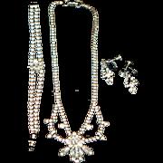 Vintage Art Deco Style Set (Necklace, Bracelet and Earrings) Signed Jay Flex Sterling 1950-s