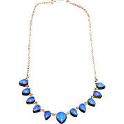 Vintage Beautiful Sterling Silver Necklace with Lazurite Stone 1960-s