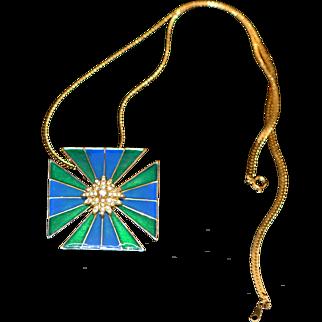 Vintage Brooch/Pin/Pendant Marked Ciner Enamel Maltese Cross 1960-s
