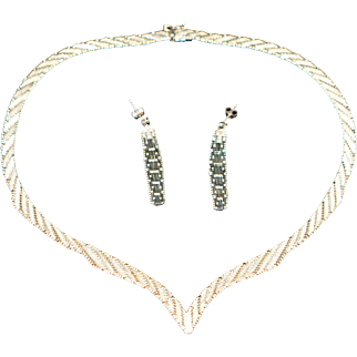 Vintage Sterling Silver Set (Necklace and Earrings) Signed C*A 925 1960-s