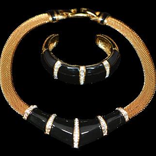 Vintage Set (Choker Necklace and Bracelet) Signed GR or TR 1970-s