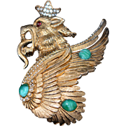Vintage KRAMER Mythical Fire Breathing Winged Lion Figural Gold Tone Brooch with Green Cabochons 1950-s