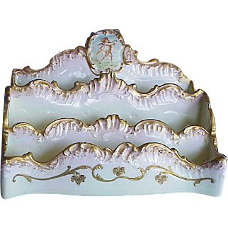 Antique French Victorian Limoges Cherub Hand Painted & Gilded Porcelain Letter Holder Desk Organizer