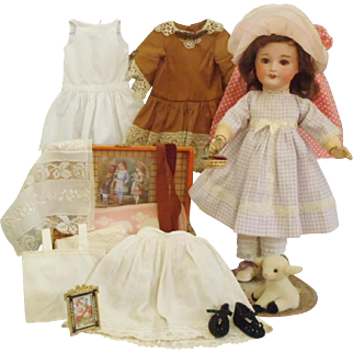 "Antique SFBJ Jumeau French Bisque Doll With Trousseau & Trunk: Working ""Mama"" Voice"