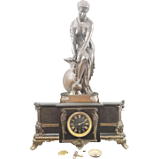 Antique French A.D.Mougin Marble and Bronze Mantle Clock with Bronze Women. BRONZE SIGNED AFTER EUGENE HEBERT (French 1828-1893)