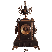 Stunning 19 th French Black Marble/Bronze Clock. Fully Working.