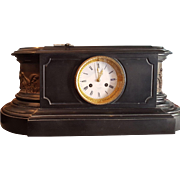 Tiffany & Co. Antique Marble and bronze Mantle Clock with Seated Bronze Women.