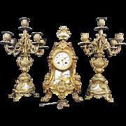 Antique French Spelter Gilded Mantel Shelf Clock. 3 pc. Set