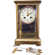 Antique  French Japy Freres Mantel Clock - In a brass four glass case with Svarovski crystals