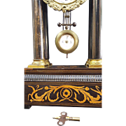 Antique 1800's Garrard  Vignon Paris Mantle Clock-w/columns-Pendulum & Key-Works.