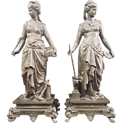 "Two Neo-Classic Ansonia  Spelter  Figures "" Commerce And Industry'.Rare."