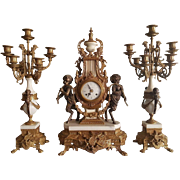 Huge Italy Brevetatto Bronze Marble Rococo Style French Table Clock With Putee