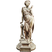 19th  Century Antique French  Spelter Woman Statue.