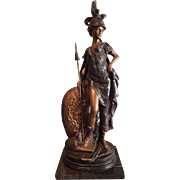 """Bronze Athena Greek Goddess Statue with Spear 25"""" tall on Marble base Mint"""