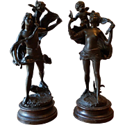 Pair Of Antique  France Patinated Bronzed Spelter Figurative Groups. 19 Century.