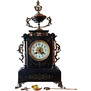 Stunning Antique 19th Century French Black  Marble/Bronze Clock. Fully Working.