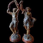 19 Century Antique France Pare Of Spelter  Figurine  By Aug. Mureau.