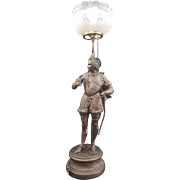 Vintage French Spelter Falconer Figurative  Electrified Post Lamp