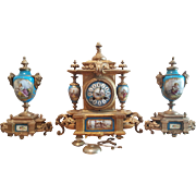 Antique French 19 Century Gilt Metal & Porcelain Clock Set. 3 pc.
