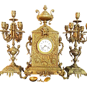 Exclusive 19th Century Antique French Bronze Shelf Clock Set. 3 pc