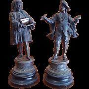 Antique Ansonia  cc. 1900 Spelter Clock Statues Garniture Set. Rare