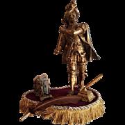 Antique Large Victorian Bronzed Warrior Statue/Feather Inc Pen/Let
