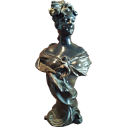 19th Century Antique French Art Noveau Spelter Bronzed Lady Statue Bust. Signed