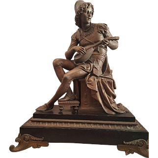 Large Antique 19th Century French Cast Metal Statue of Man Playing Lute.