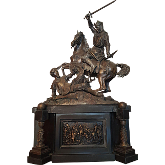 Antique French Middle of 19th Century Large Bronze Sculpture of 2 Knights Fighting