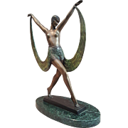 Signed Art Deco Style Nude Girl  Dancer. Fayral Bronze Statue Marble Base Figurine.