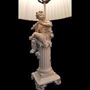 VTG Pair Cherub Lamp Figural Puttee Electric Table Painted Metal w/Shades