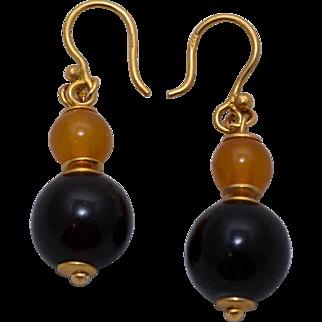 Vintage genuine Baltic pressed Cognac and  honey Amber brass dangle hook earrings