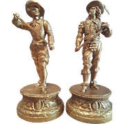 Late 19th ct. Pair of Antique Spelter Figures. Don Juan and Don Ceasar