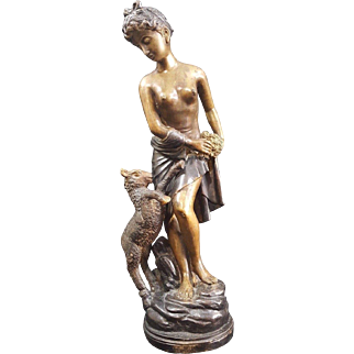 French Original Bronze Multi Color Sculpture Of a Nude Woman And a Lamb.