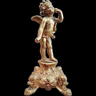 Antique French Spelter Gold Gilded Angel-Cherub-Putti Statue. 19th Century