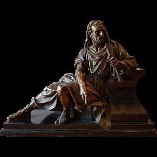 Antique French bronze sculpture of a Greek warrior. 19 century.