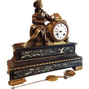 Antique French Empire Marble & Bronze Figurative Mantle Clock . Writer.