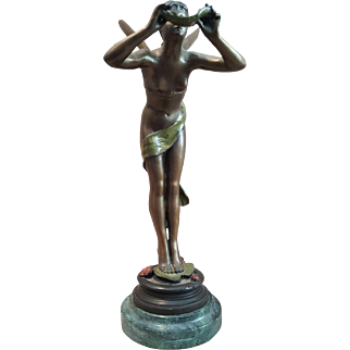 Dragonfly Ballerina Vintage Bronze sculpture -Signed