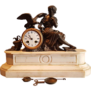 Antique French Empire White Marble & Bronze Mantle Clock . Woman With Bird