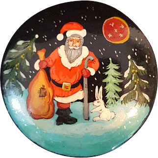 Vintage Hand Painted Russian Lacquer Brooch Santa with Rabbit Pin.