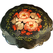Vintage Hand Painted Russian Lacquer Brooch Pin. Artist Signed