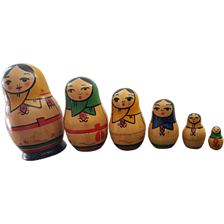 6 pc. Vintage Russian Wooden Nesting Dolls Set Matryoshka Girl . USSR