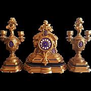 Antique P .H .Mourey French Clock with Garniture. Original Gilding