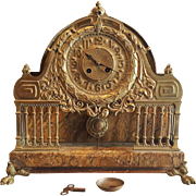 1850-1870 French Unusual Bronze And Marble Mantel Clock . Second Empire